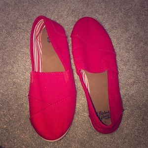Red slip on shoes size 9